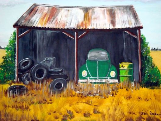 VW in farmshed art