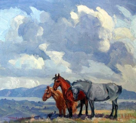 horses-near-waikanae-geo-e-lewens-1943