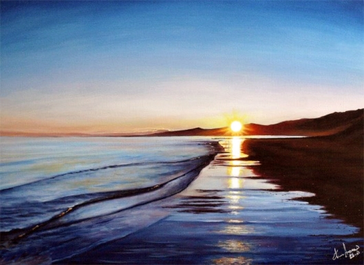 Kapiti sunrise painting by New Zealand artist Karl Andrews