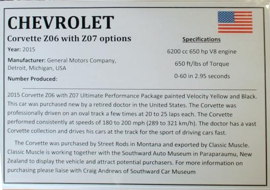 2015 Chevrolet Corvette info