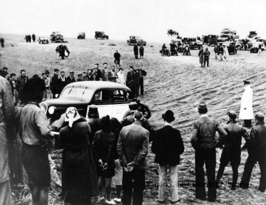 Waikanae Beach cars in sand motorcycle sport 1939ish J. Buckley