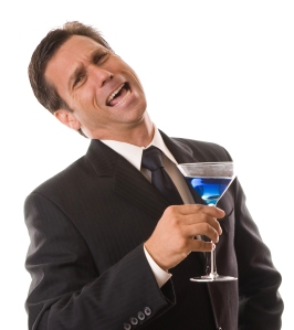 Businessman Drunk with Blue Martini Isolated on White Background