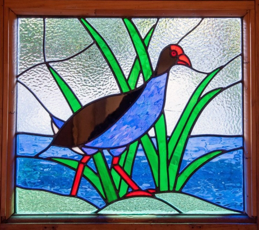 Pukeko stained glass