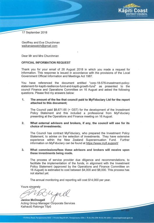 1819-052 signed response Waikanae Watch_