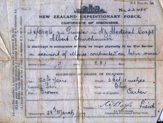 albertsnr discharge certificate