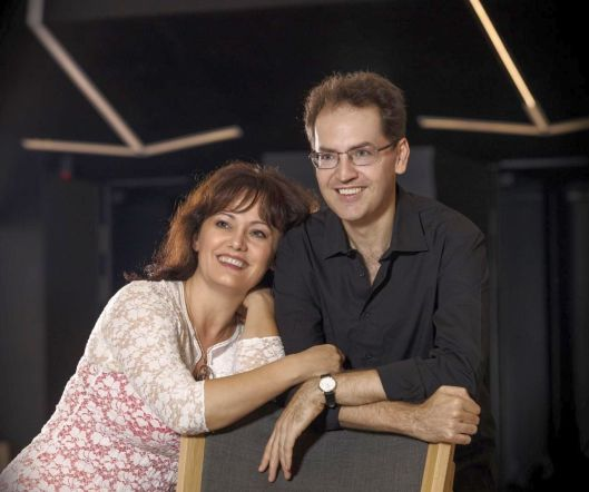 Hungarian pianist Dénes Várjon and wife