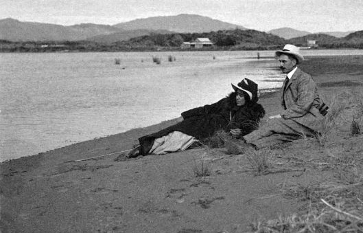 Harold Hislop with maybe a Parata family friend at Waikanae River mouth 1908