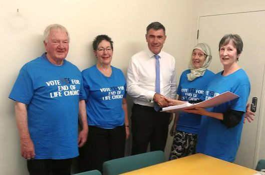 Endof Life Choice Presenting petition to Nathan Guy. 22 March 2019