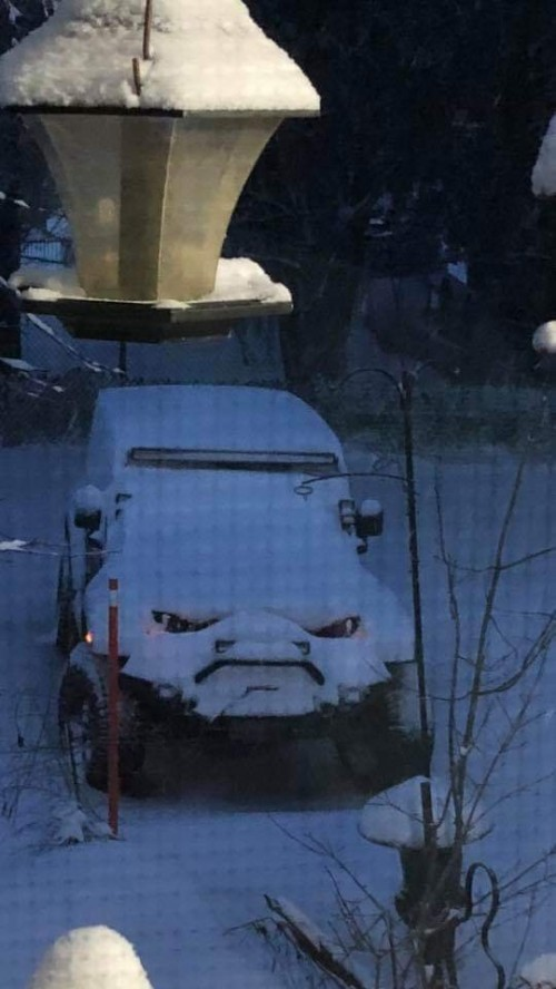 art snow covered car