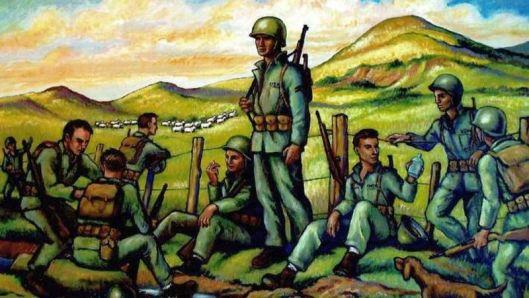 Porfirio Navarro painting Marines in Kapiti