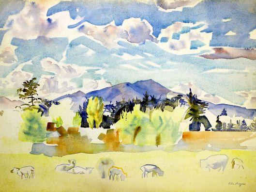 Waikanae Farm art Rita Angus, c1955