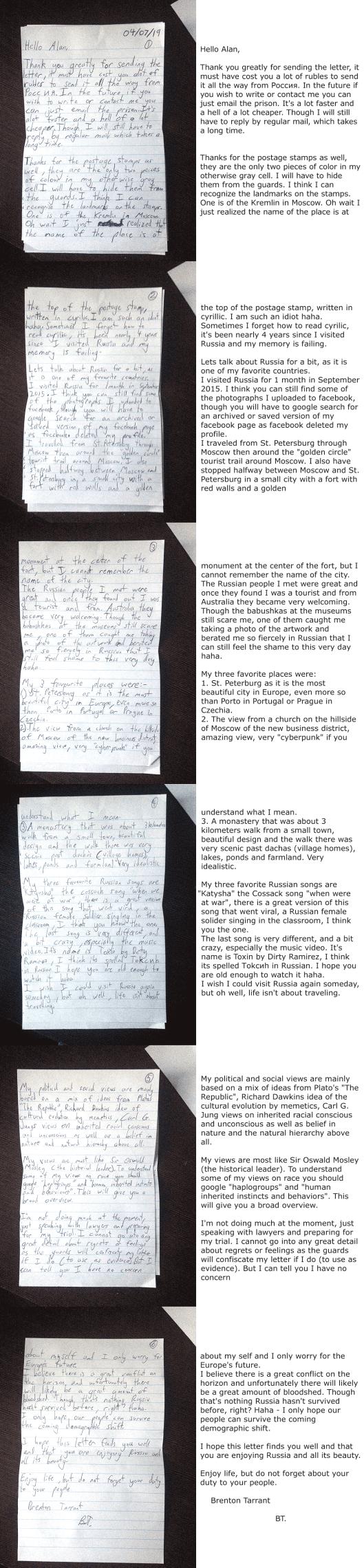 Tarrant letter