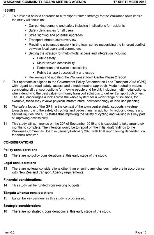 Agenda of Waikanae Community Board Meeting - 17 00 2019