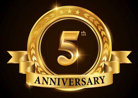 5 years anniversary celebration logotype. Golden anniversary emb