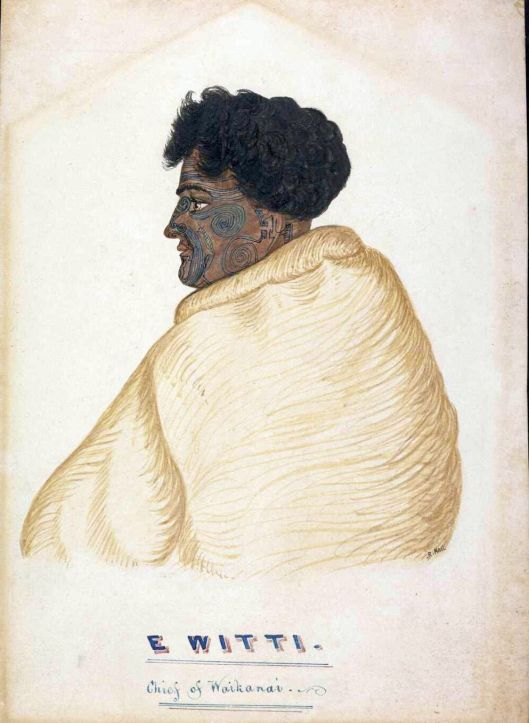 Wiremu Kingi Te Rangitake, also known as Whiti, a signatory of the Treaty of Waitangi. He is shown wrapped in a cloak or blanket and with full moko 1844