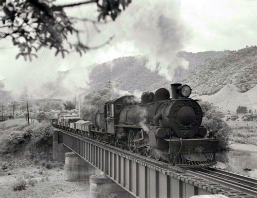 NZR Ab on Waikanae Bridge 1949 L=John Le Cren